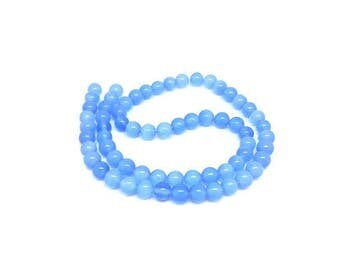 65 6mm color blue cat's eye beads