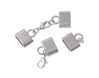 2 sets of clasps silver for cord flat 10mm