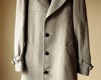 Vintage Mens Tailored Tweed Wool Trench Overcoat Wrap with Lining Pendleton / Plaid Mens Coat Jacket 42 Large / XL Mens Tall