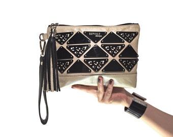 Metallic clutch, Gold clutch purse, Geometric purse, Black and gold bag, Acrylic clutch, Evening purse, Luxury leather purse