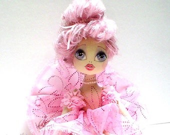 Circus doll,cloth doll, ELSBETH the ACROBAT Carnival doll OOAK Coquette, Art Doll, handmade doll, original fantasy doll, keepsake doll