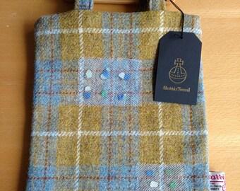 Harris Tweed Tote Bag in blue and beige, Harris Tweed bag, Scottish sea glass, Scottish gifts, Scotland, gifts for her, Scottish tartan