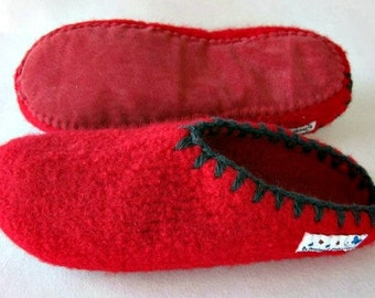 Felt Slippers (open back!) with leather or car tube rubber soles to ORDER, sizes EU 35 - 43