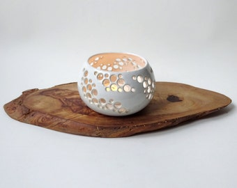 White candle holder - Handmade Ceramic candle holder - White tea light with holes