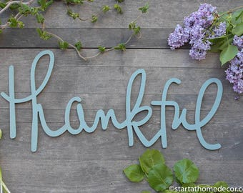 Thankful Typography Word Cutout | MDF word sign | Typography | Start at Home Decor