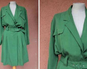 1970's Silk Green Belted Jumpsuit Dress - 70's Green Silk Jumpsuit - S