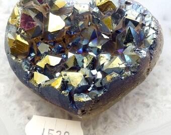 A-1528 Titanium Aura Quartz Crystal Heart 3.5 oz.