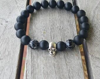 Black Onxy bracelet Beaded Bracelet Skull bracelet Goth Bracelet Gemstone Bracelet Mens Jewelry Protection bracelet Gifts for Him