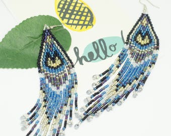 Beaded earrings, Blue beadwork,Boho style