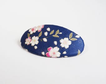 Flower French Barrette, Chiyogami Oval Hair Clip, Japanese Hair Accessory, Cherry Blossoms on Blue