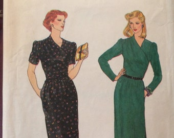 Beautiful Vintage Bodice Wrapped Dress Pattern---Vogue 7404