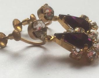 Vintage Simulated Amethyst And Clear Glass Rhinestones Screw Back Earrings/Diamante Earrings/Crystal Earrings/1960s