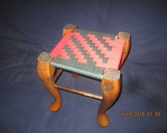 "S-124  Stool  with red and green Shaker Tape weaved seat. 11"" x 11"" and 13"" tall. Perfect for small child or just your feet!"