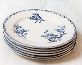 Reserved for R - Early 1900s Ironstone Dessert Plates - Set of Six - Sarreguemines Favori - Blue Transferware - Free Shipping Within the USA