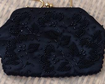 1950's Black Beaded Evening Bag