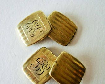 Cuff links Gold Plated , Monogrammed, Engine Turned, Bar Link