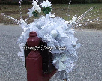 Mailbox Swag, Mailbox Swag, Artificial mailbox topper,  Home Decor, mailbox cover, custom made, ready to ship, deco mesh