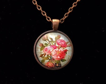 Rose Garden round glass pendant necklace (ACC3-A6)