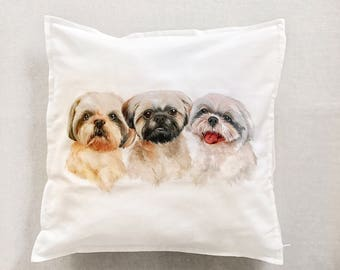 THREE dog Accent Pillow, Decorative Pillow, Hand Painted Dog Pillow Cover