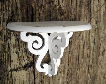 Shabby Shelf. Small white shelf. distressed white shelf. Hand painted white shelf. Up-Cycled shelf. display shelf
