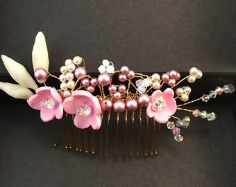 Comb wedding Rosaria flowers and pearls