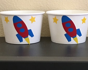 Rocket party snack cups, outer space party, alien party