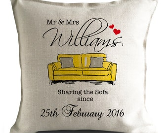 PERSONALISED 'Sharing the Sofa' Wedding anniversary Mr and Mrs Large Cushion Cover YELLOW