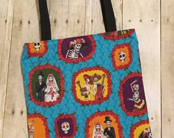 Day of the Dead tote bag - Skeleton tote -  Dios de la Muerte tote bag - Fabric tote bag - Cotton tote bag - Grocery bag - Shopping bag