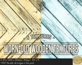 Worn-out wooden textures | 8.5x11 Printable Digital Papers | Set of 6 Textured Scrapbook Papers | Digital scrapbook Photo Paper overlays