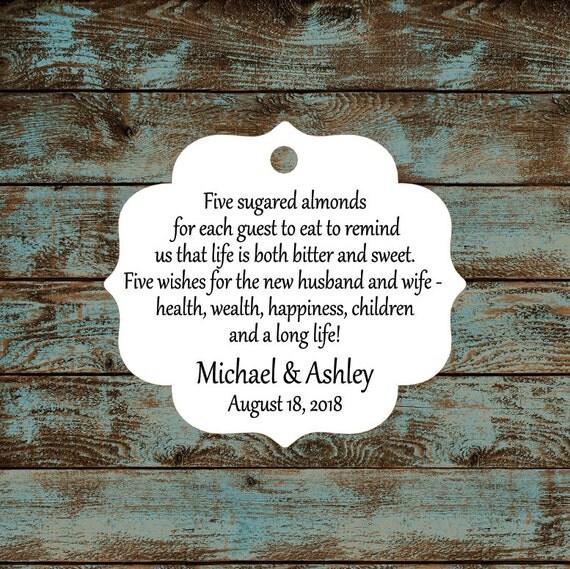 Favor Tags, Jordan Almond Favor Tags, Sugared Almond Favor Tags, Italian Wedding Favor Tags #648 Qty: 30 Tags