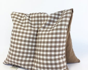 Large Microwavable Corn Bag, Brown Mocha Gingham, Heating Pad, Two Sectioned