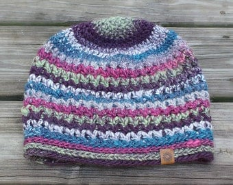 Striped Slouch Beanie // Wide // Crochet // Handmade // Free Shipping
