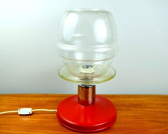 Large vintage space age table lamp, 70s, UFO lamp, mid century light, red