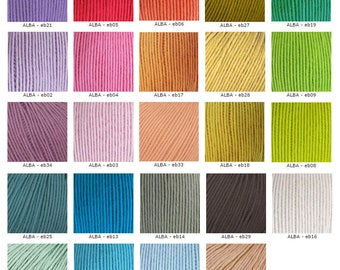 FREE SHIPPING: 100% Organic Cotton Yarn ALBA Starter Set - colour shades card and 1 skein of any colour