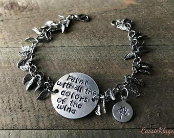 """Metal Stamped Pocahontas """"Paint With All The Colors Of The Wind"""" Bracelet"""
