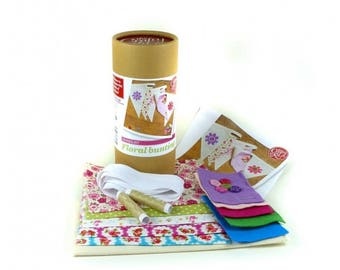 Floral bunting sewing kit - learn to sew - craft kit - children's gift - children's craft kit - bunting