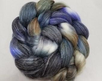 dyed polwarth/bamboo/tussah silk roving (combed top) for spinning or felting, polwarth wool --'Swan Lake'-- 4 oz.