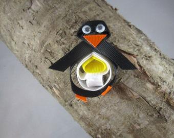 NEW penguin ribbon art hair clip