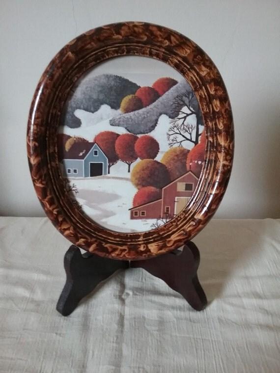 Oval frame vinegar painted in walnut