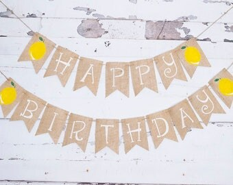 Lemon Birthday Party Decorations, Happy Birthday Banner, Summer Lemonade Garland, B507