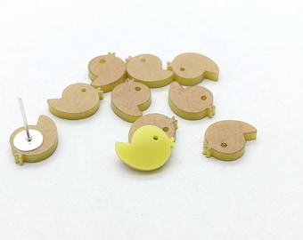 Yellow milky acrylic laser cut baby chicks / ducks - 8 pcs -unpeeled