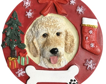 "Goldendoodle Ornament Personalized with your Dog's Name, Hand Painted with a brush, Measures 3.75"" Diameter"