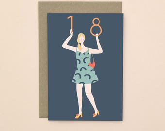 Illustrated 18 Birthday Card A6