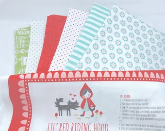 1 Yard Bundle Lil Red with mixed Fabrics INCLUDES Doll Panel! - 7 Fabrics