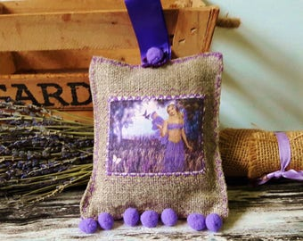 Lavender Bags, Linen Scented Hanging Decoration, Lavender Sachets, Fairie Print With Lilac PomPoms Large 14cm x 12cm FREEPOST UK