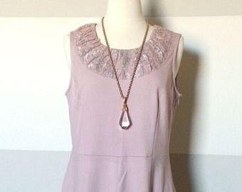 Gorgeous Vintage Smoky Mauve Lace Neck Sheath Dress with Hidden Side Zipper and Silver Embroidery, Flapper and Art Deco Style
