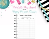 LAST CHANCE: Vehicle Maintenance Tracker - Budget Binder Printable Page Insert for your Happy Planner Classic - Instant Download
