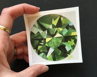 Tsavorite Garnet Watercolor Gemstone on 3x3in Circle Sticker