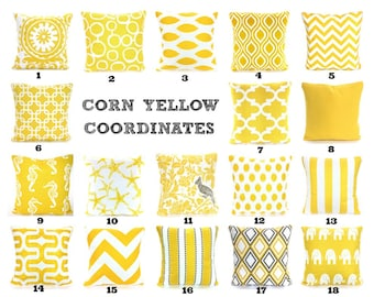 Yellow Pillow Covers, Decorative Throw Pillows, Cushions, Corn Yellow on White Chevron Stripe Ikat Suzani One or More Mix & Match All Sizes