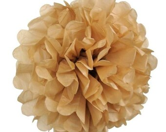 1 pompon flower brown paper, 10 cm for celebration